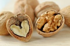 Walnut is good for your heart and brain. Macro royalty free stock image