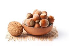 Walnut and hazelnuts Stock Photo