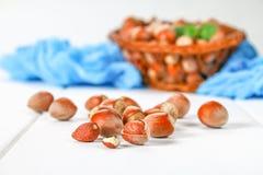 Walnut hazelnuts in a wicker basket on a white wooden table. Walnut hazelnuts in a wicker basket on a white wooden table Royalty Free Stock Photo