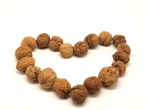 Walnut heart. Heart made from walnuts isolated on a white background Stock Photos