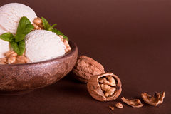 Walnut ice cream Royalty Free Stock Image