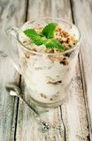 Walnut ice cream with mint leaves Stock Photography