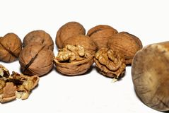Walnuts. Walnut kernels and whole walnuts on background Royalty Free Stock Images