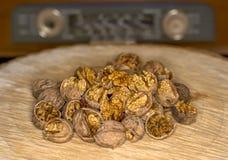 Walnut kernels   and whole walnuts wood background Royalty Free Stock Image