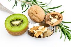 Walnut and kiwifruit Stock Photo