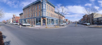 Walnut and  Linden Street. Walnut & Linden Streets, Fort Collins (inspired Disneyland's Main St. USA), New York Stock Photography