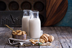 Walnut nut vegan milk. Non dairy in different bottles with copy space Royalty Free Stock Image