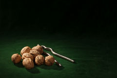 Walnut with nutcracker Royalty Free Stock Image