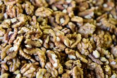 Walnut nuts from sell in a local market. Backgrounds with walnuts royalty free stock images