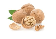 Walnut nuts on white Royalty Free Stock Photography