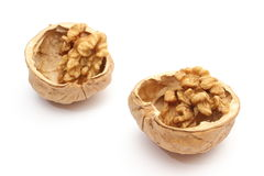 Walnut in nutshells on white background Royalty Free Stock Photo