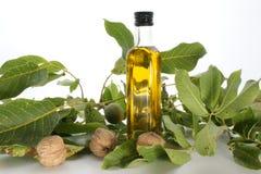 Walnut oil in a bottle Stock Photo