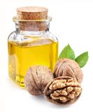 Walnut oil and nuts. Royalty Free Stock Images