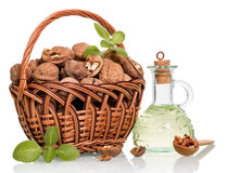 Walnut oil and nuts Stock Photography