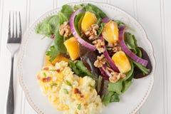 Walnut Orange Spinach Salad cauliflower mac and cheese Royalty Free Stock Image