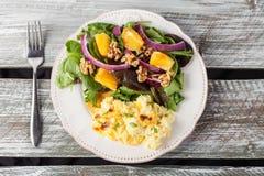 Walnut Orange Spinach Salad top view Royalty Free Stock Image