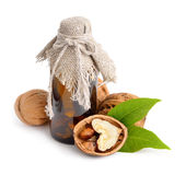 Walnut with pharmaceutical bottle  Stock Photo