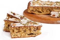 Walnut pie under a sweet glaze Stock Images