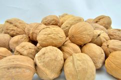 Walnut pile stacked together on white background Royalty Free Stock Photos