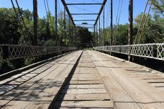 Walnut River Iron And Wood Bridge Royalty Free Stock Photos