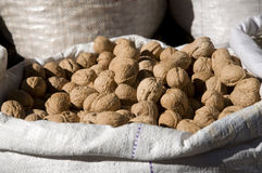 Walnut in a sack Stock Photos