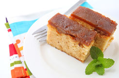 Walnut and salted caramel cake Royalty Free Stock Photos