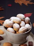 Close up of walnut shaped cookies. Russian oreshki royalty free stock photo