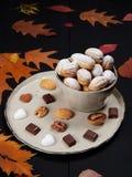 Walnut shaped cookies. Russian oreshki royalty free stock images