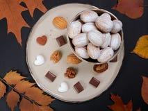 Walnut shaped cookies. Russian oreshki royalty free stock photos