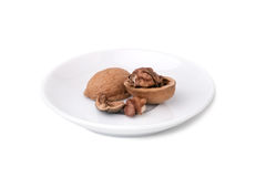 Walnut shell isolated Stock Photography