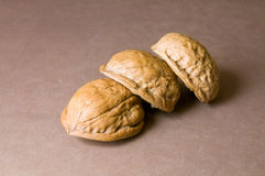 Walnut shells closeup on each other Royalty Free Stock Photography