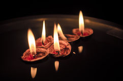 Walnut Shells with Lit up Candles Royalty Free Stock Photography
