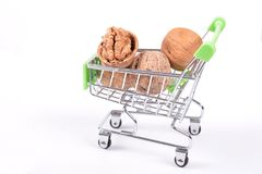 Walnut in shopping cart Stock Images