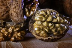 Walnut. Some walnuts on the table Royalty Free Stock Photography