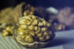 Walnut. Some walnuts on the table Stock Photo