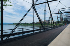 Walnut Street Bridge In Harrisburg, Pennsylvania Leading to City Stock Images