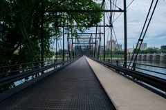 Walnut Street Bridge In Harrisburg, Pennsylvania Leading to City Royalty Free Stock Image