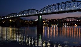 Walnut Street Bridge at Sunset. The blue Walnut Street Bridge in Chattanooga, Tennessee at sunset stock photography