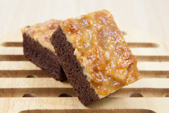 Walnut toffee cake. Close up image of walnut toffee cake Stock Photo