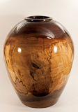 Walnut Vase Turned on Wood Lathe Royalty Free Stock Images