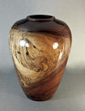 Walnut Vase Turned on Wood Lathe Stock Photography