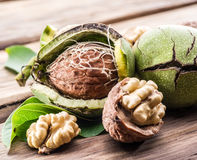 Walnut and walnut kernel. Royalty Free Stock Images