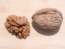 Walnut and walnut kernels Royalty Free Stock Photo
