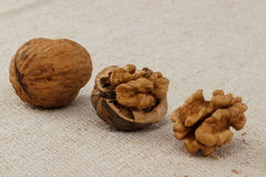 Walnut. S in different forms - hole, cracked and kernel stock image