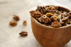 Walnut. S in a wooden piala Royalty Free Stock Photography