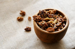 Walnut. S in a wooden piala Royalty Free Stock Images