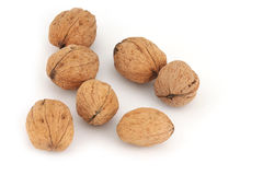 Walnut at white background Royalty Free Stock Images