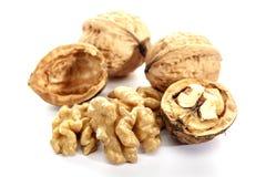 Walnut on white background, isolated. Cracked nut. Dietary product. Omega 3. Walnut on white background, isolated. Cracked nut. Dietary product. Walnut on white stock photo