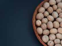 walnut in a basket on the background royalty free stock photography