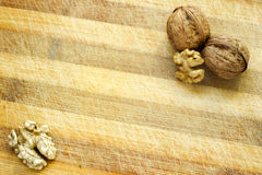 Walnut Wooden Table Background Stock Images